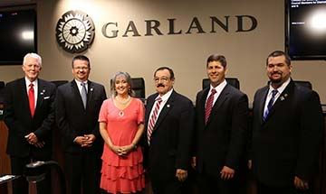 Outgoing Mayor Lori Dodson with newly sworn-in Mayor Scott LeMay, and Council Members Jerry Nickerso