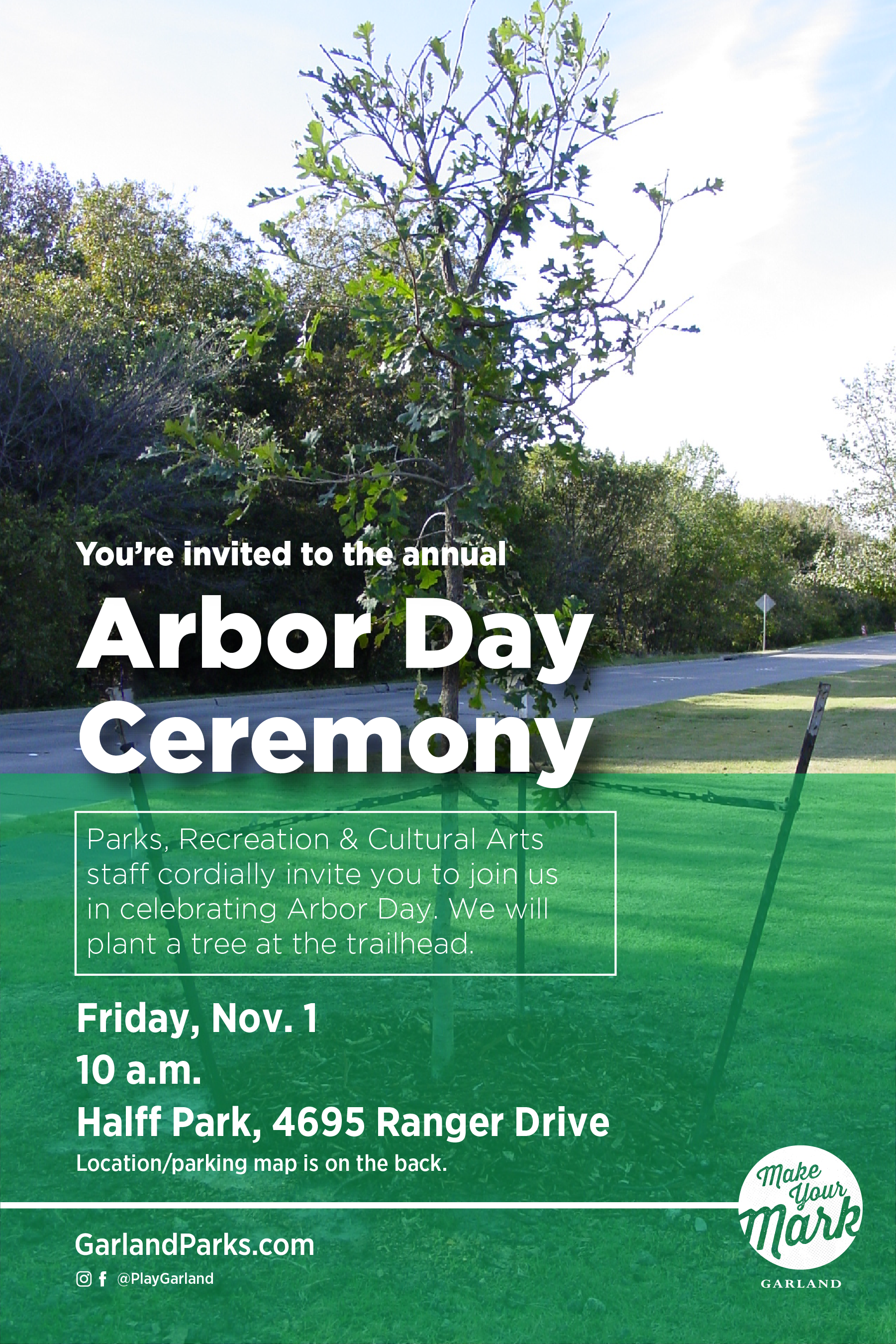 Arbor Day invitation with tree and trail in background