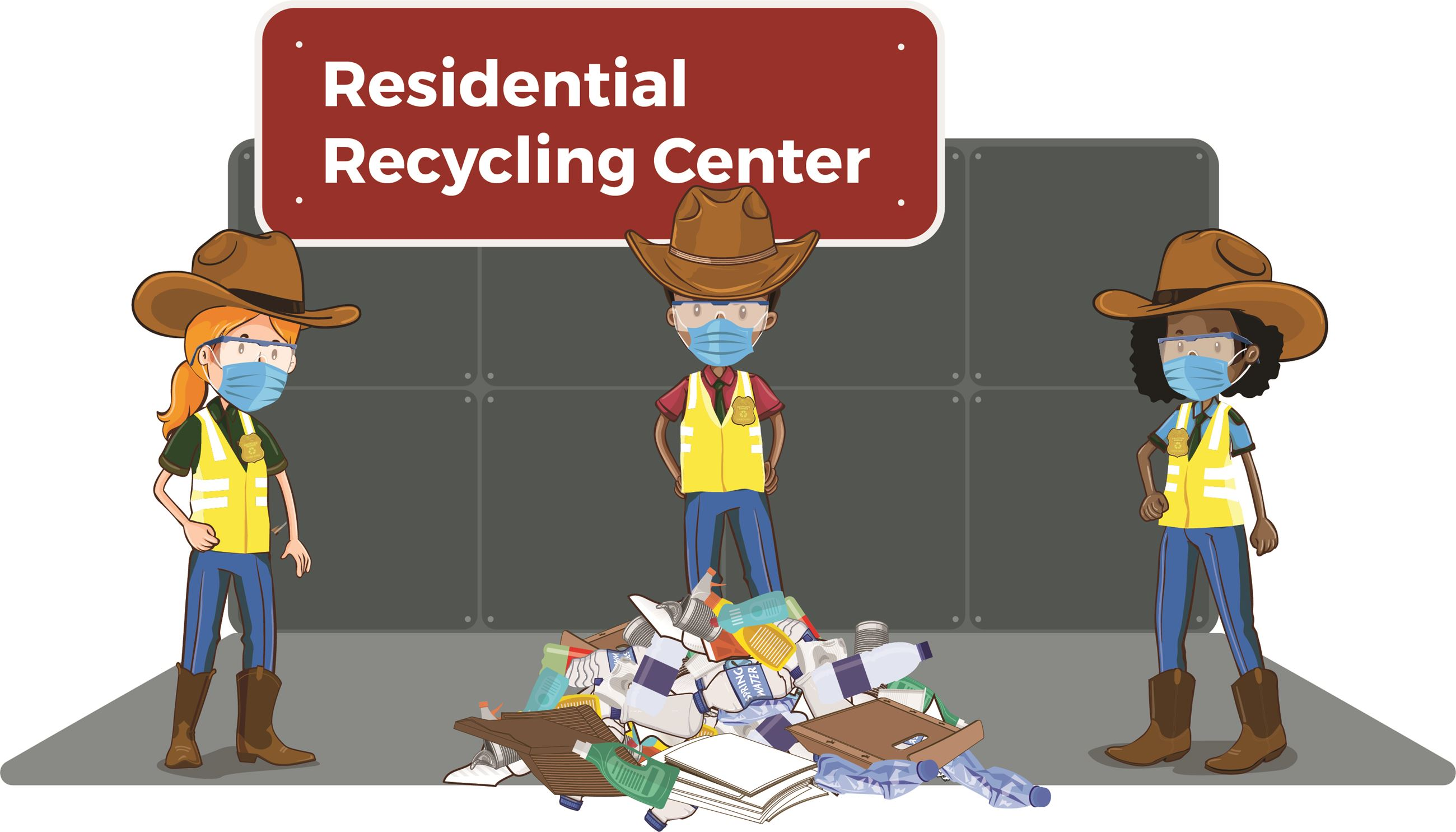 Drawing of Garland Recycle Rangers wearing masks and social distancing at the Recycling Center