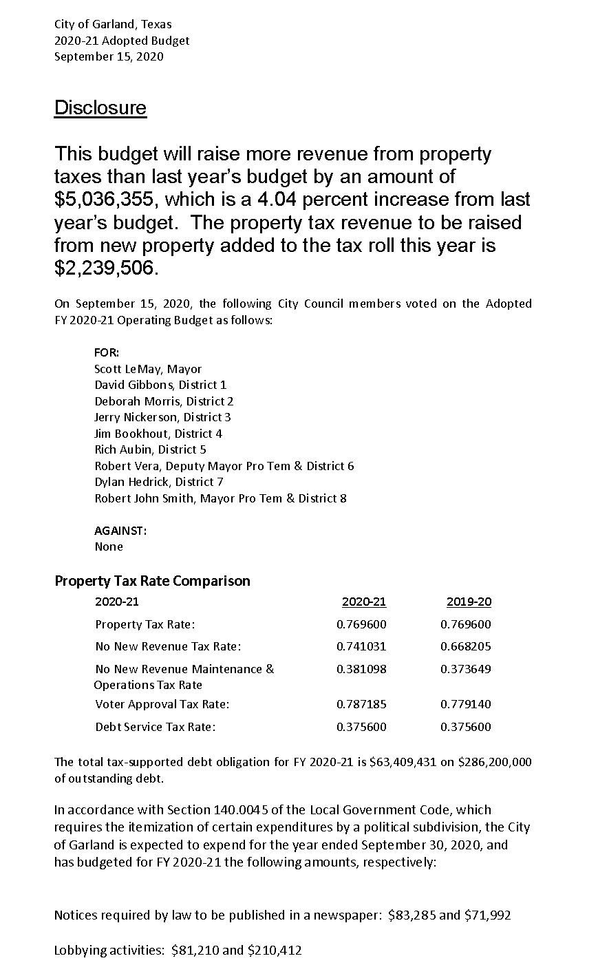 Click link below for readable Budget and Tax Disclosure FY 2020-2021