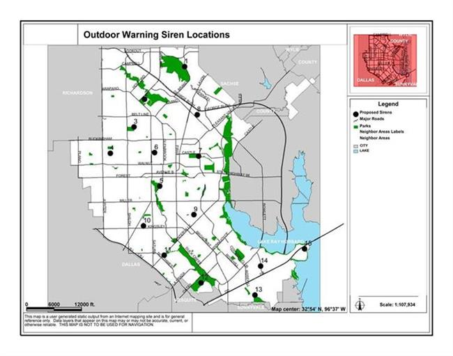 Outdoor Warning Siren Locations Map (JPG)