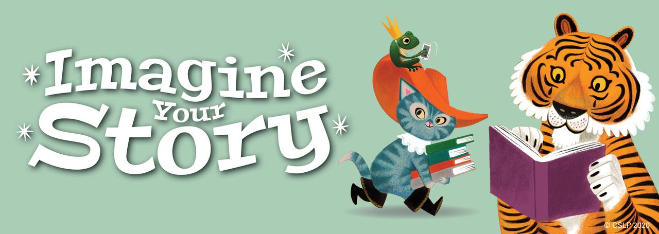 "Summer Reading banner pale green with ""Imagine Your Story"" and a cat and a tiger reading books"